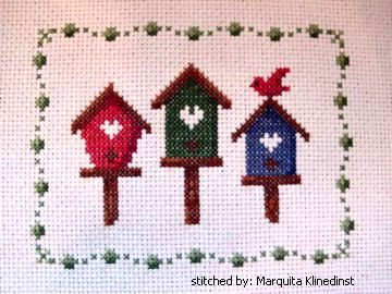 cross stitch pattern 3 Birdhouses
