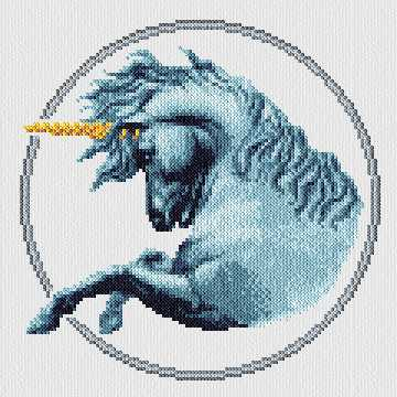 cross stitch pattern Blue Unicorn