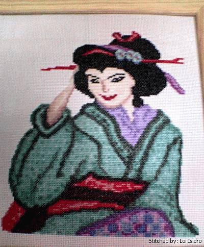 cross stitch pattern Geisha