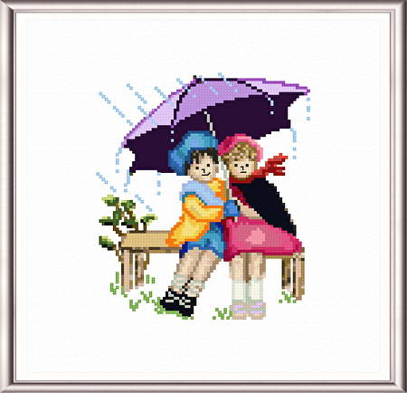 cross stitch pattern Kids in the Rain