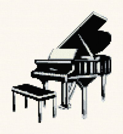 Grand Piano Cross Stitch Pattern Music