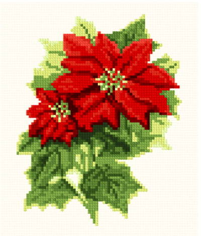 Poinsettia Cross Stitch Pattern Flowers