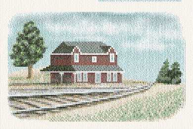 cross stitch pattern Train Station