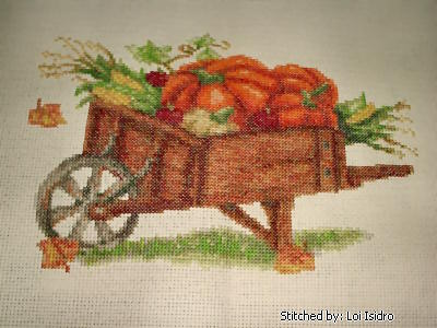 cross stitch pattern Autumn Wheelbarrow
