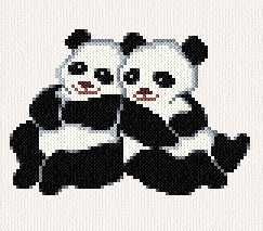 cross stitch pattern Pandas