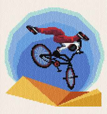 cross stitch pattern BMX Rider