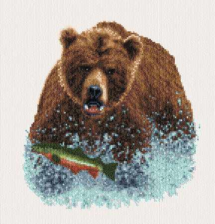cross stitch pattern Grizzly Splash