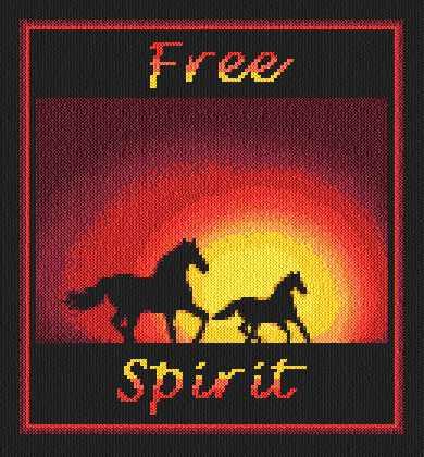 Free Spirit Cross Stitch Pattern Horses