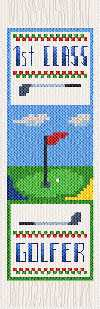 cross stitch pattern Golf bookmark