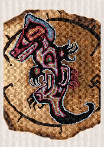 cross stitch pattern Native N. American Wolf