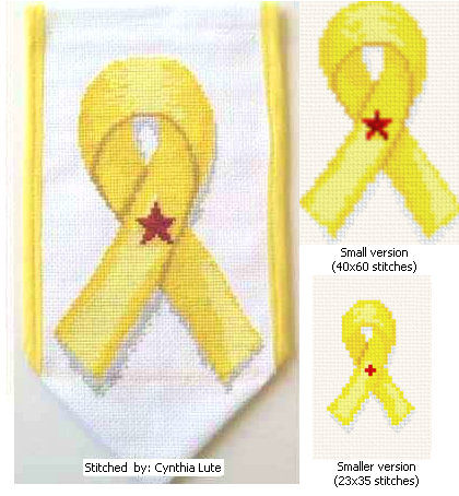 cross stitch pattern Yellow Ribbon