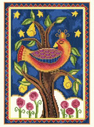 cross stitch pattern Partridge in a Pear Tree