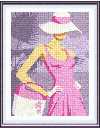 cross stitch pattern Girl at the Beach