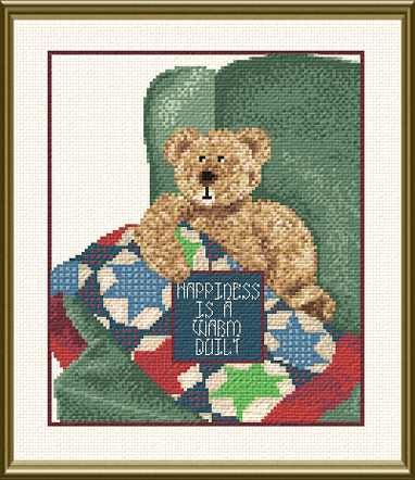 cross stitch pattern Happiness is a Warm Quilt