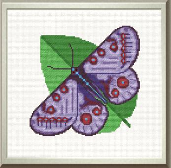 cross stitch pattern Purple Butterfly