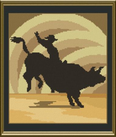 cross stitch pattern Bull Rider Silhouette