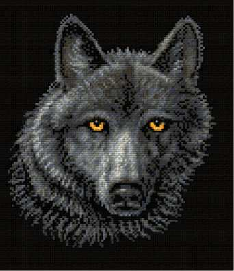 cross stitch pattern Black Wolf