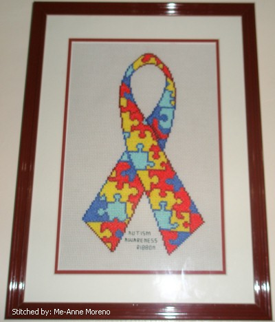 cross stitch pattern Autism Awareness Ribbon