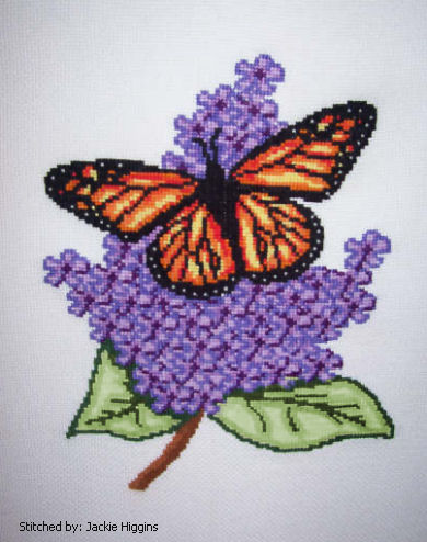 cross stitch pattern Butterfly on Lilac