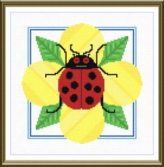 cross stitch pattern Ladybug on a flower