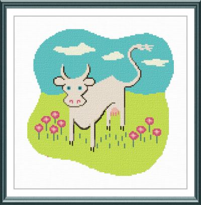 cross stitch pattern White Cow