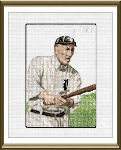 cross stitch pattern Ty Cobb