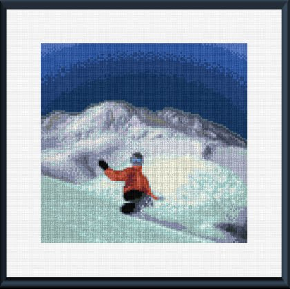 cross stitch pattern Whistler Mountain boarder