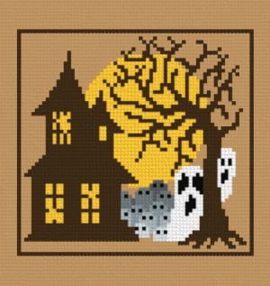 cross stitch pattern House ghosts