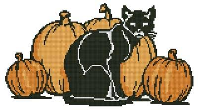 cross stitch pattern Cat and Pumpkins