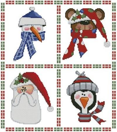 cross stitch pattern Cute Christmas Sampler