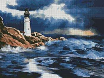 cross stitch pattern Lighthouse in a Storm