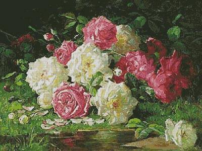 cross stitch pattern Still life with Roses 3