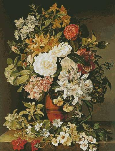 cross stitch pattern Still life with Flowers