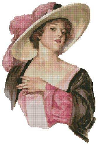 cross stitch pattern Victorian Pink Hat