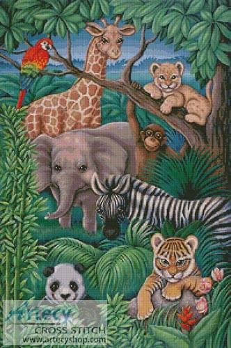 Animal Kingdom Cross Stitch Pattern Cartoon