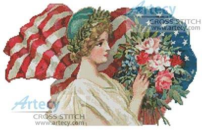 cross stitch pattern American Blossoms