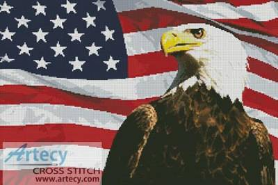 cross stitch pattern Bald Eagle and USA Flag
