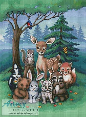 Forest Family Cross Stitch Pattern Animals