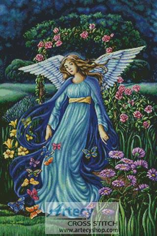 Garden Angel Cross Stitch Pattern fantasy
