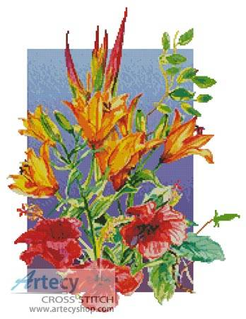 cross stitch pattern Hibiscus and Daylilies