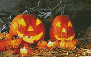 cross stitch pattern Jack o' Lanterns
