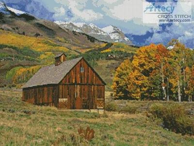 cross stitch pattern Mountains and Barn