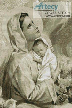 cross stitch pattern Mary and Baby Jesus Sepia