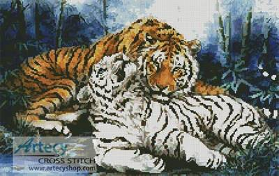 Morning Calm Cross Stitch Pattern Tiger