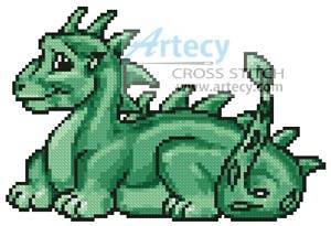 cross stitch pattern Mini Cute Dragon (Green)