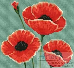 Mini Poppies Cross Stitch Pattern Mini