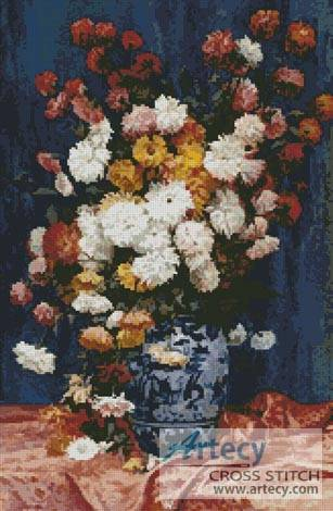 cross stitch pattern Mums in a Porcelain Vase