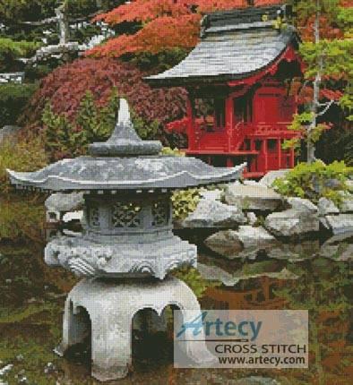 Pagoda Cross Stitch Pattern Water