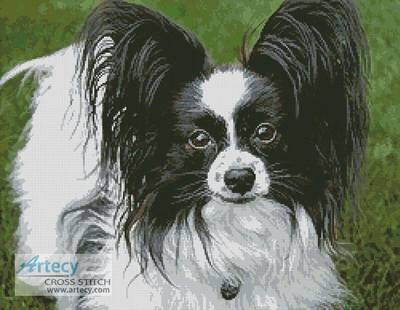 Black and White Papillon Cross Stitch Pattern dogs