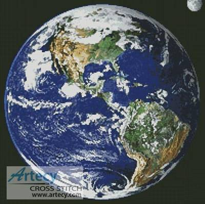 Planet Earth Cross Stitch Pattern Space